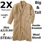 $219.99! Big&Tall 2X Men's Double-Breasted Wool Blend Long Trench Coat Overcoat
