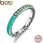 Bamoer Authentic S925 Sterling Silver Ring With Bright Mint Enamel Green Crystal