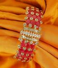 352 Indian Ethnic Ruby Stone Bollywood Bracelet Gold plated Kada Bangle Set