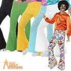 Mens 1960s Flared Trousers Groovy Disco Fancy Dress Costume Various Colours
