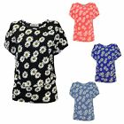 LADIES WOMENS FLORAL DAISY PRINT CUT OUT SHOULDER BATWING TOP UK 8 - 14