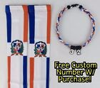Sports Compression Arm Sleeves Baseball Dominican Rep. Flag & Rope Necklace W/ #