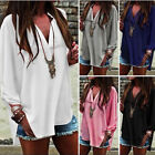 Womens Ladies V-Neck Oversize Loose Top Women Frill Plus Size Baggy Shirt Tops