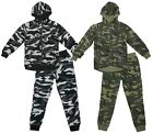 Boys Tracksuit Army Zip Hooded Camouflague Jogging Suit Camo Kids 4 to 14 Years