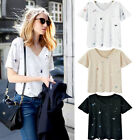 Women V Neck Short Ladies Sleeve Casual T-shirt Loose Blouse Summer Fashion Tops