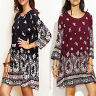 Women's Floral Printed 3/4 Sleeve Loose Casual Shirt Mini Dress Summer Sundress
