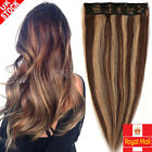 Premium DIY WEFT One Piece Clip In Remy Human Hair Extensions 3/4 Full Head H004
