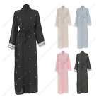 Womens Ladies Long Open Beaded Summer Pocket Abaya Modest Casual Summer Dress Ou