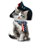 American Flag Shirt, Cat with Flag Bow & Hat, Patriotic, 4th of July, Small - 5X