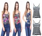 New Womens Sleeveless Short Swing Vest Top Strappy Ladies Stripe Cami Size 8-14