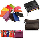 Soft Mens Women Genuine Leather Card Coin Key Holder Zip Wallet Pouch Bags Purse