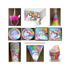 RAINBOW UNICORN BIRTHDAY PARTY SUPPLIES PLATES CUPS TABLECOVER NAPKINS HATS +