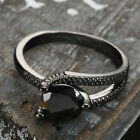 1Pc/set Women Lady Black Zircon 14KT Black Gold Filled Rings Bridal Jeweiry Gift