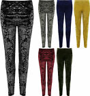 Womens Plus Crushed Velour Leggings Ladies Elasticated Stretch Trousers Bottoms