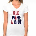 RED WINE BLUE American patriotic USA 4th of July Women's V-neck T-Shirt