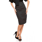 Dolly & Dotty Chic 1950s Vintage Inspired Rockabilly Polka Dot Pencil Skirt Blk
