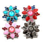 Chic Flower Shaped Rhinestone Resin Snaps Buttons Charms Fit 18mm Snap Jewelry