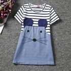 Casual Kids Girl Wear O Neck Short Sleeve Striped Patchwork Straight Dress C1MY
