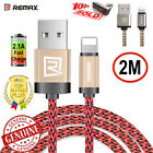 REMAX iphone lightning braided cable 2m genuine metal plug delux