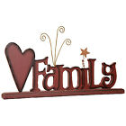 Family Wood Word Sign Table Accent Mantle Piece Display Living Bed Room Decor