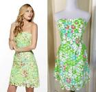 NEW $328 Lilly Pulitzer Rana SAND BAR BLUE Splish Neon Green Lace Dress 0 2 XS