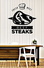 Wall Vinyl Decal Fresh Meat Beef Steak Restaurant Interior Decor z4852
