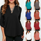 Plus Size Women Casual Top Chiffon Loose Long Sleeve Blouse Shirt Blouse Tops US