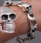 """HEAVY SKULL CURB CHAIN LINK 925 STERLING SOLID SILVER MENS BRACELET 7.7 8 9 9.5"""""""