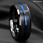 Black Tungsten Carbide Band Ring Brushed Blue Stripe Beveled Edge Atop Jewelry