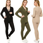 Womens Knit Tie V Neck Long Sleeve Ribbed Jumper Leggings Ladies Two Piece Set