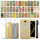 For LG K10 Premier LTE L62VL K428 K430 Slim Sparkling Gold TPU Case Cover + Pen