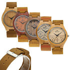 REDEAR Men Women Wooden Bamboo Wood Cowhide Leather Band Quartz Watch Wristwatch