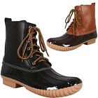 New Womens Lace Up Pull On Duck Wellies Rain Boot Ankle Boot