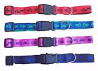 Dog Collar Strong Nylon Small Medium Large Pink Red Black Blue Paw Print Design