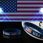 3PCS The American Flag Silicone Bracelet USA Rubber Silica Gel Wristband Jewelry
