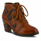 New In Box Womens L'Artiste NEASA Camel Leather Lace Up Booties NEASA-CA