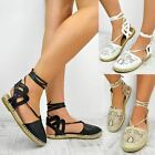 New Womens Ladies Flats Lace Up Espadrilles Sandals Summer Shoes Pumps Size 3-8