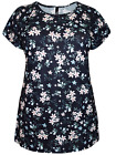 Plus Size Navy Floral Printed Top Sizes 16, 18
