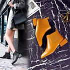 Chic Womens Genuine Leather Retro Pull On Chunky Block Heels Fashion Ankle Boots