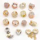 Gold 1pcs Cz European Charm Beads Fit 925 Necklace Bracelet Pendant Chain Diy