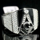 MEN'S NEW SIMULATED BLACK ONYX W/ CLEAR CZ STONE G COMPASS MASONIC RING BAND