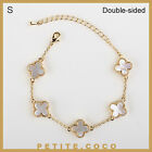 "Handmade 0.5"" mother of pearl 5p four leaf clover gold bracelet"