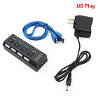 4 Ports LED indicator USB 3.0 HUB With On/Off Switch Power Adapter For LaptopP&T