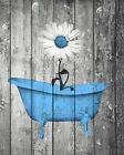 Rustic Daisy Flower In Bathtub Farmhouse Bathroom Wall Art Home Decor Picture