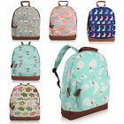 Anchor Umbrella Woodland Animal Whale Rabbit Canvas Backpack Rucksack School Bag