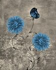 Brown Blue Flowers  Butterfly Bathroom Bedroom Home Decor Wall Art Picture