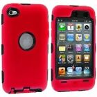 (red) - Red Deluxe Hybrid Premium Rugged Hard Soft Case Skin Cover for iPod Touc