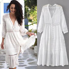 2017 Gypsy Hollow Oracle White GAUZE Goddess Maxi Boho LACE Hippie Prairie Dress
