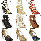 New Womens Ladies Barely There High Heel Ankle Strappy Buckle Party Sandals Size