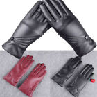 Womens Ladies Gloves PU Leather Autumn Winter Warm Touch Screen Outdoor Mittens